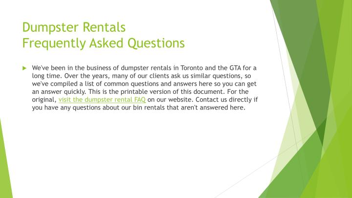 Dumpster rentals frequently asked questions