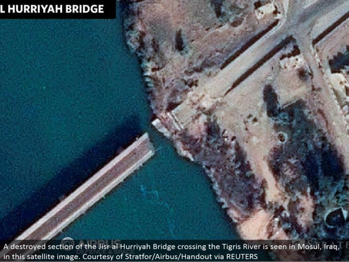 A annihilated area of the Jisr al Hurriyah Bridge crossing the Tigris River is found in Mosul, Iraq, in this satellite picture. Obligingness of Stratfor/Airbus/Handout by means of REUTERS