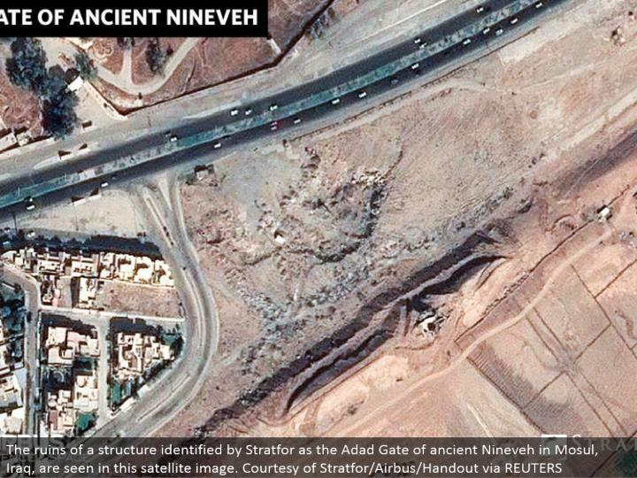 The remains of a structure recognized by Stratfor as the Adad Gate of old Nineveh in Mosul, Iraq, are found in this satellite picture. Cordiality of Stratfor/Airbus/Handout by means of REUTERS