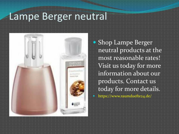 Lampe berger neutral
