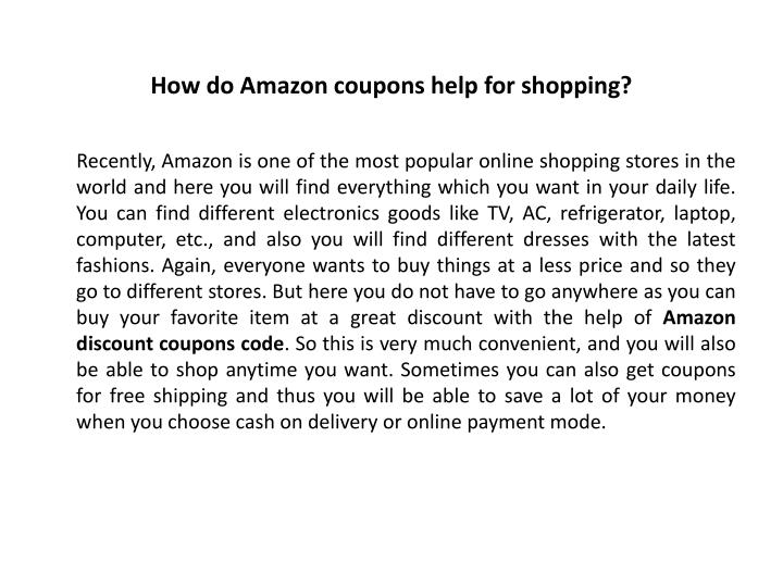 How do amazon coupons help for shopping