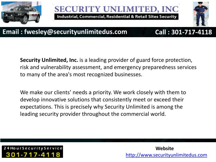 Email : fwesley@securityunlimitedus.com