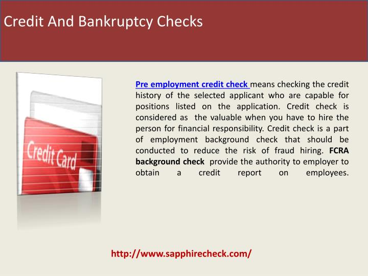 Credit And Bankruptcy Checks