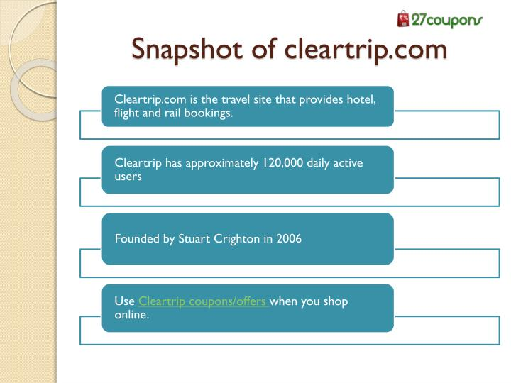 Snapshot of cleartrip.com