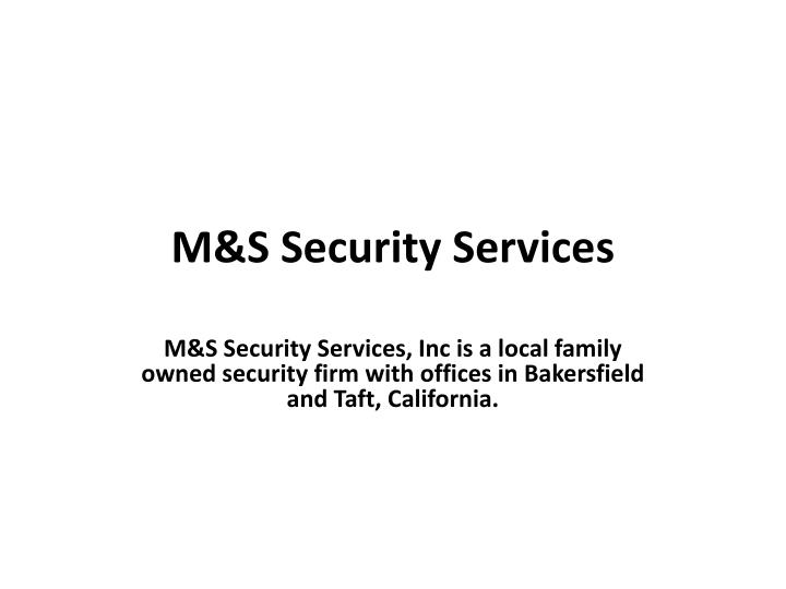 M s security services