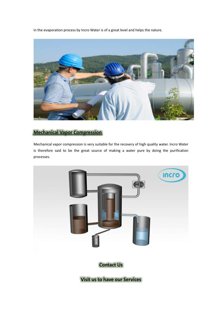 in the evaporation process by Incro Water is of a great level and helps the nature.