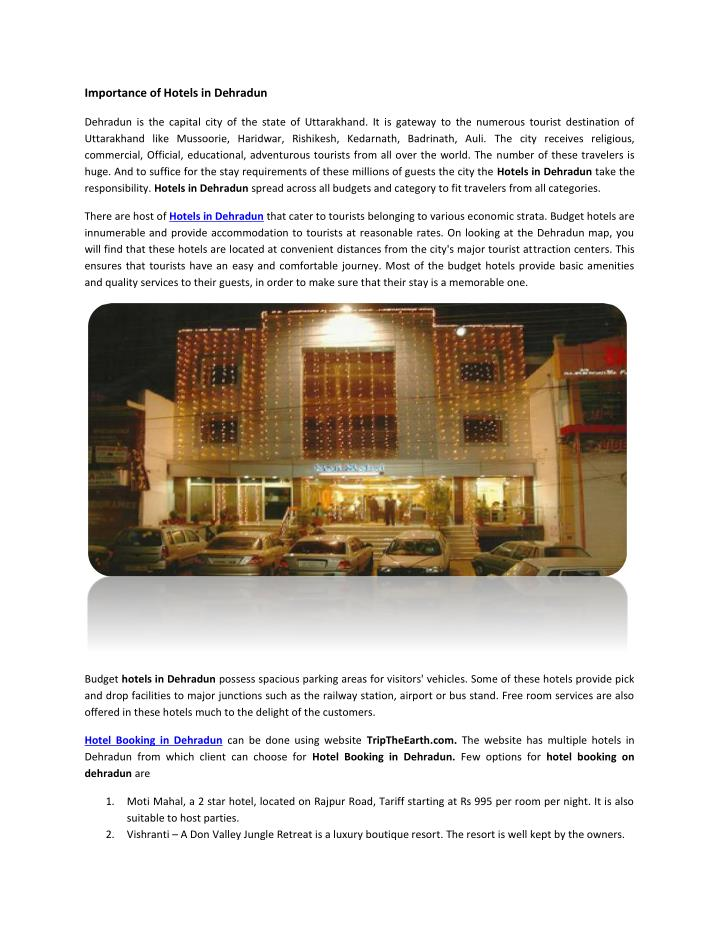 Importance of Hotels in Dehradun