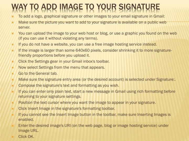 WAY TO ADD IMAGE TO YOUR SIGNATURE