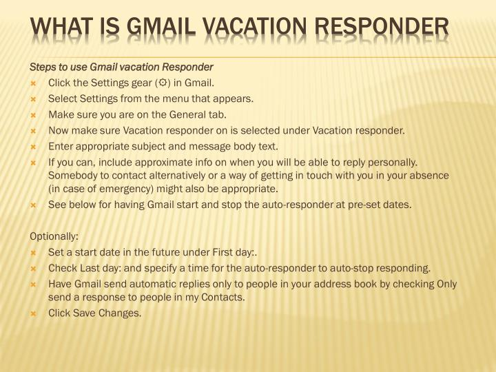 WHAT IS GMAIL VACATION RESPONDER