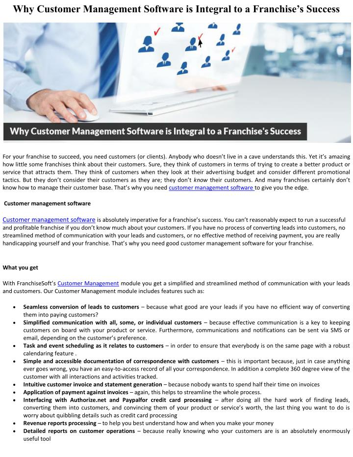 Why Customer Management Software is Integral to a Franchise's Success