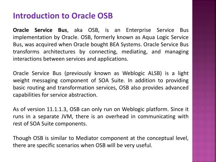 Introduction to Oracle OSB