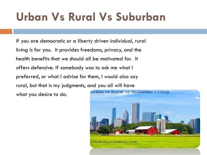 Urban Vs Rural Vs Suburban