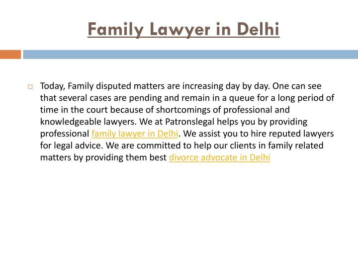 Family Lawyer in Delhi