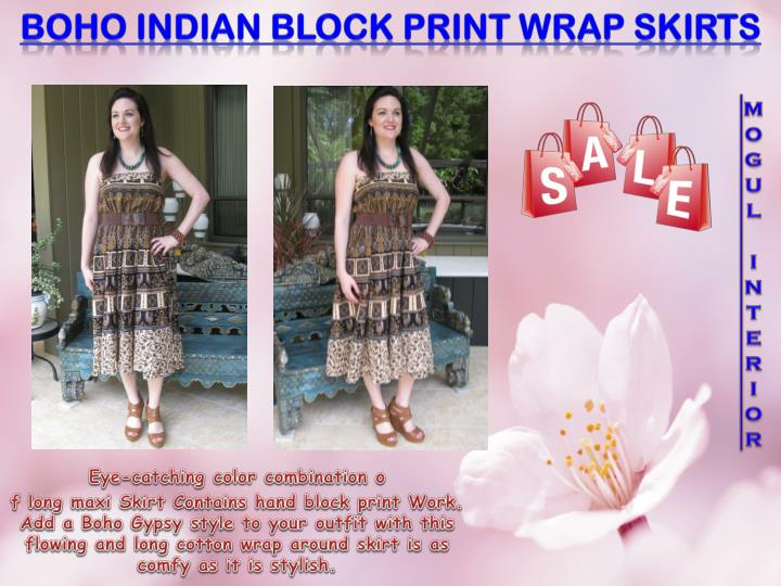 Boho Indian Block Print Wrap Skirts