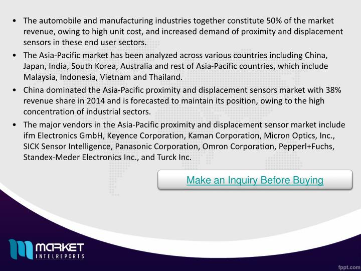 The automobile and manufacturing industries together constitute 50% of the market revenue, owing to high unit cost, and increased demand of proximity and displacement sensors in these end user sectors.