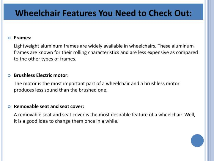 Wheelchair Features You Need to Check Out: