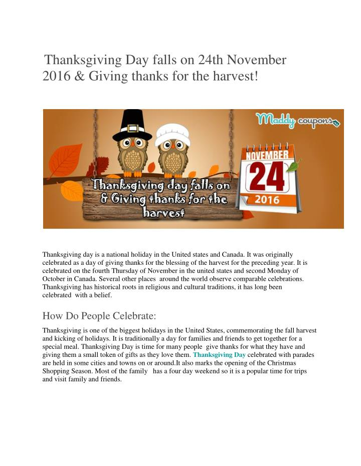 Thanksgiving Day falls on 24th November