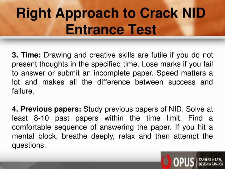 Right Approach to Crack NID Entrance Test
