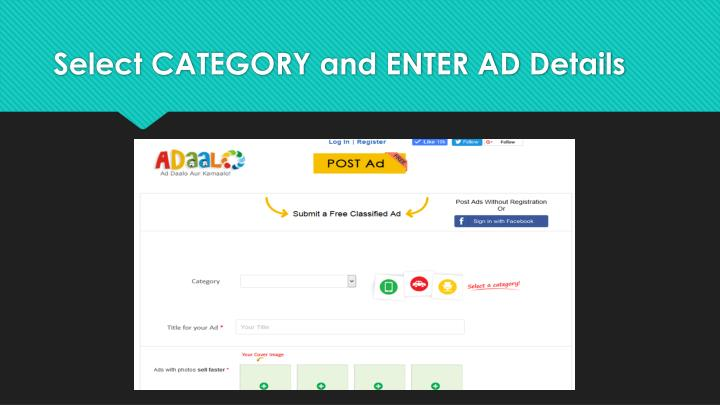 Select CATEGORY and ENTER AD Details