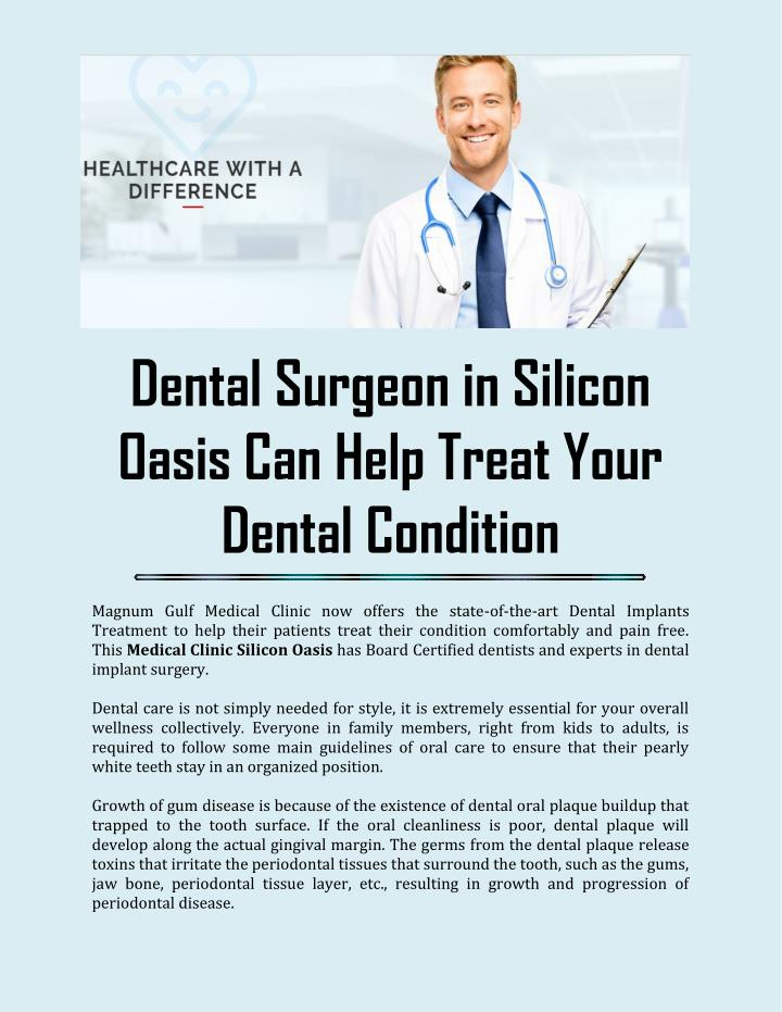 Dental Surgeon in Silicon