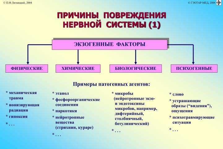 ПРИЧИНЫ  ПОВРЕЖДЕНИЯ  НЕРВНОЙ  СИСТЕМЫ (1)
