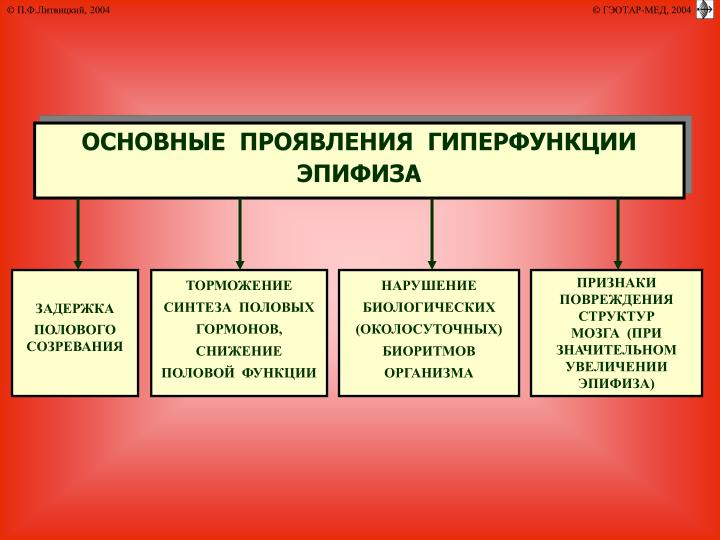 ОСНОВНЫЕ  ПРОЯВЛЕНИЯ  ГИПЕРФУНКЦИИ ЭПИФИЗА