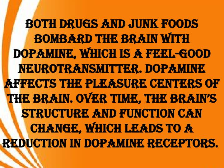 Both drugs and junk foods bombard the brain with dopamine, which is a feel-good neurotransmitter. Dopamine affects the pleasure centers of the brain. Over time, the brain's structure and function can change, which leads to a reduction in dopamine receptors.