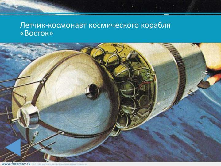 Летчик-космонавт космического корабля «Восток»