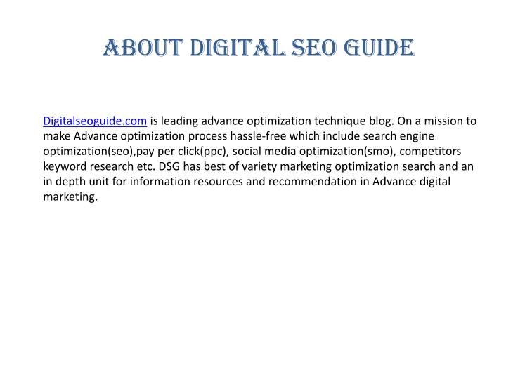 About Digital seo guide