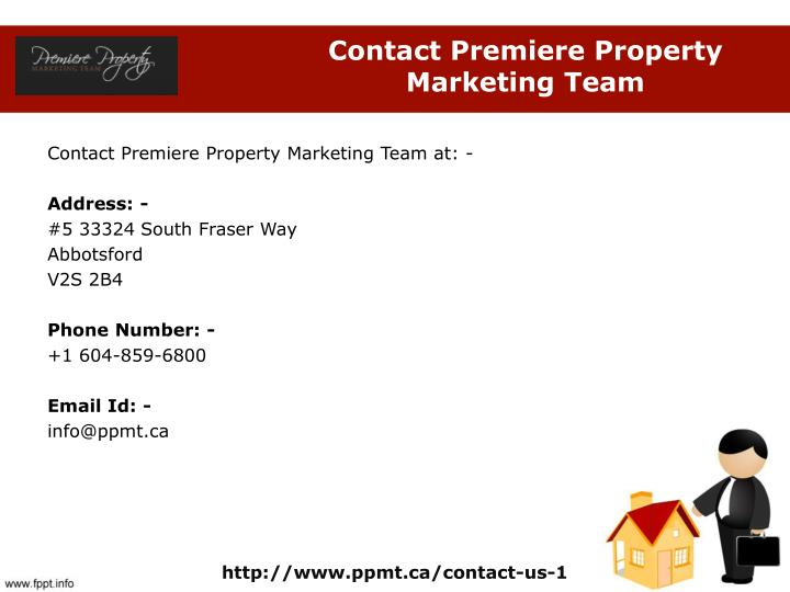Contact Premiere Property Marketing Team