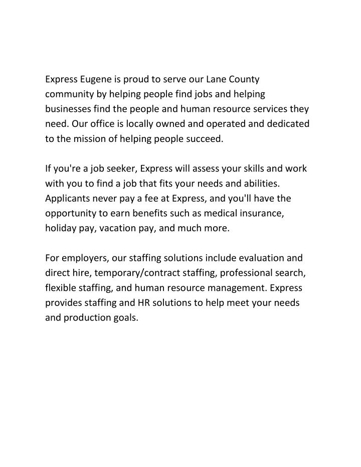 Express Eugene is proud to serve our Lane County