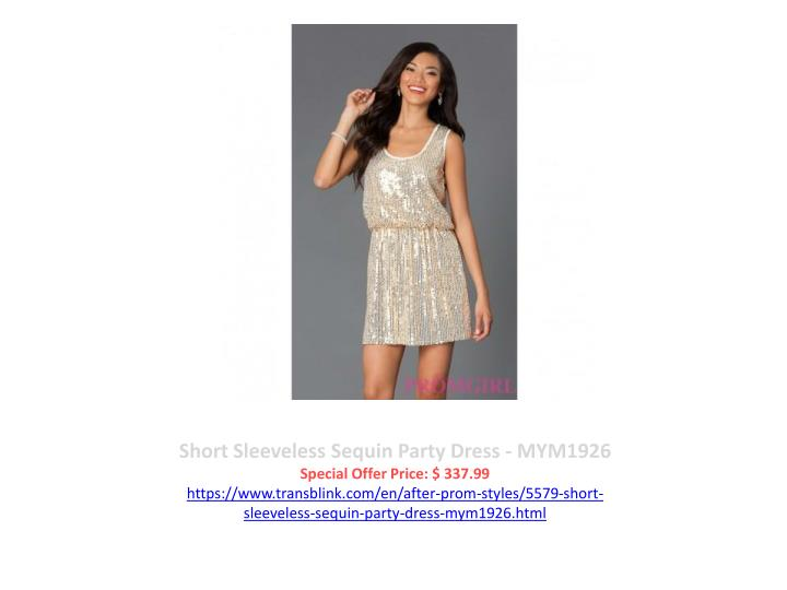 Short Sleeveless Sequin Party Dress - MYM1926