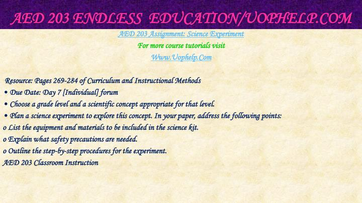 Aed 203 endless education uophelp com1