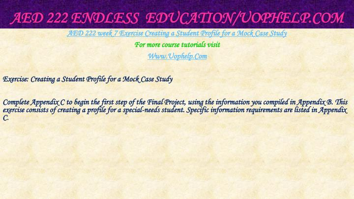 AED 222 Endless  Education/