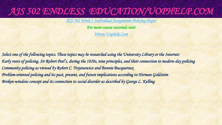 AJS 502 Endless  Education/