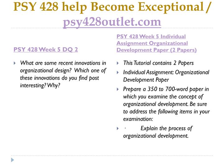 PSY 428 help Become Exceptional /