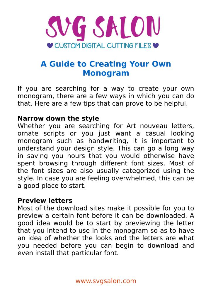 A Guide to Creating Your Own