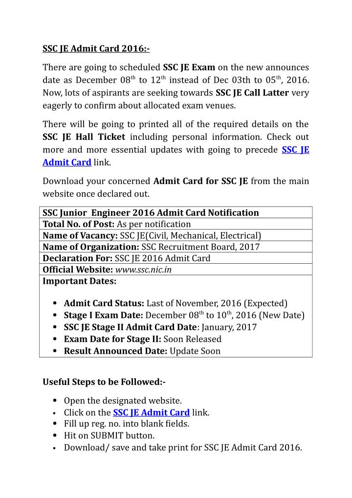 SSC JE Admit Card 2016:-