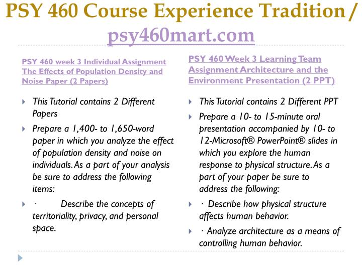 PSY 460 Course