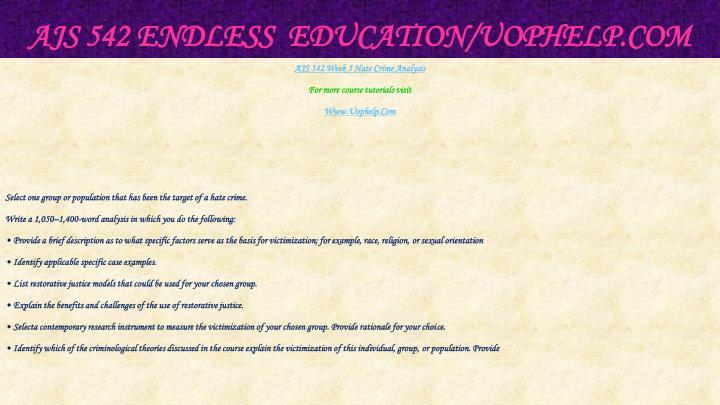 AJS 542 Endless  Education/