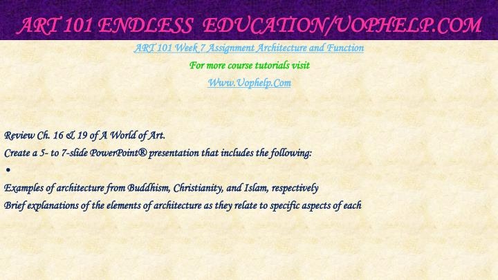 ART 101 Endless  Education/