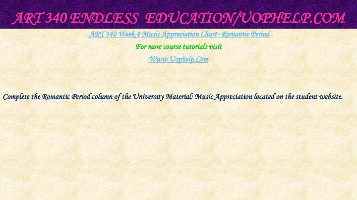 ART 340 Endless  Education/