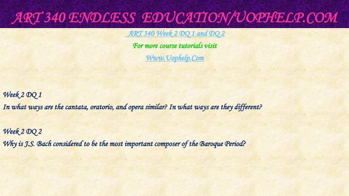 ART 340 Endless  Education/