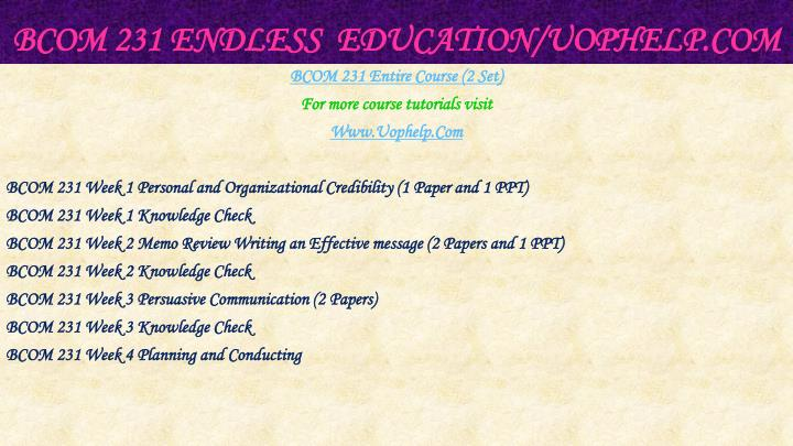 Bcom 231 endless education uophelp com1