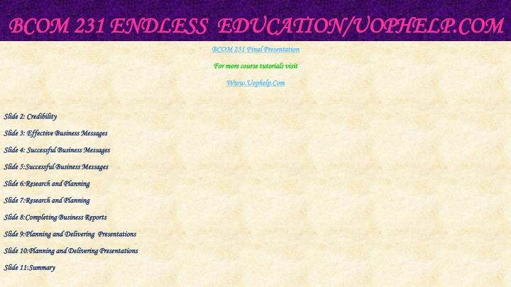 Bcom 231 endless education uophelp com2
