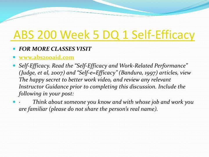 ABS 200 Week 5 DQ 1 Self-Efficacy