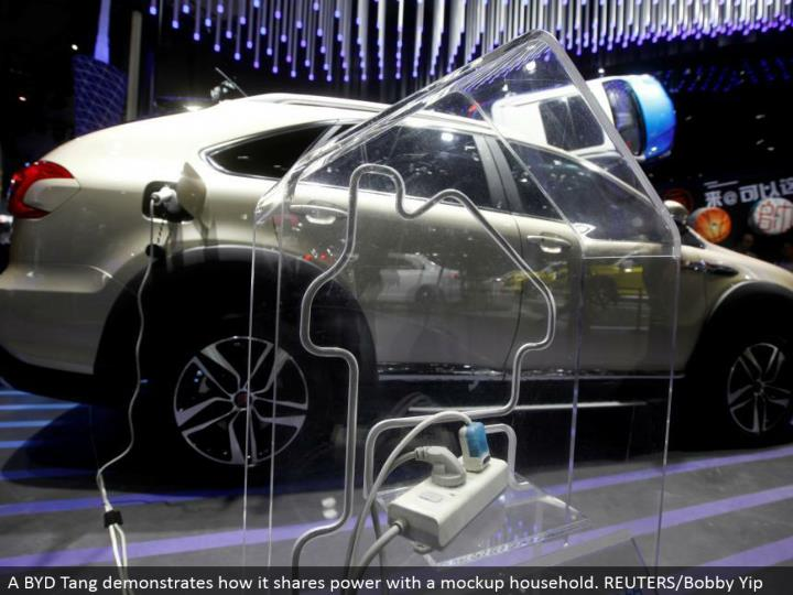A BYD Tang exhibits how it offers control with a mockup family unit. REUTERS/Bobby Yip