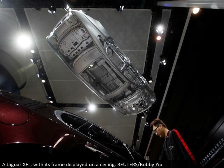 A Jaguar XFL, with its edge showed on a roof. REUTERS/Bobby Yip