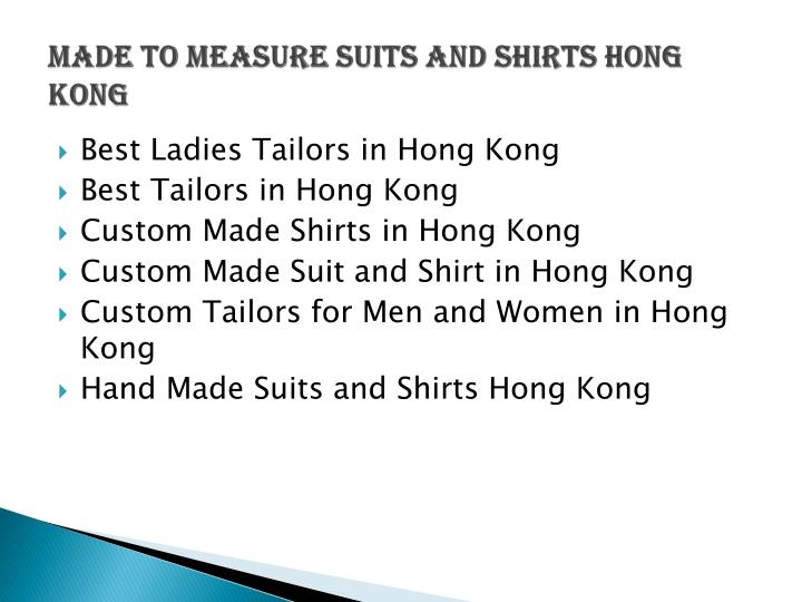 made to measure suits and shirts Hong Kong