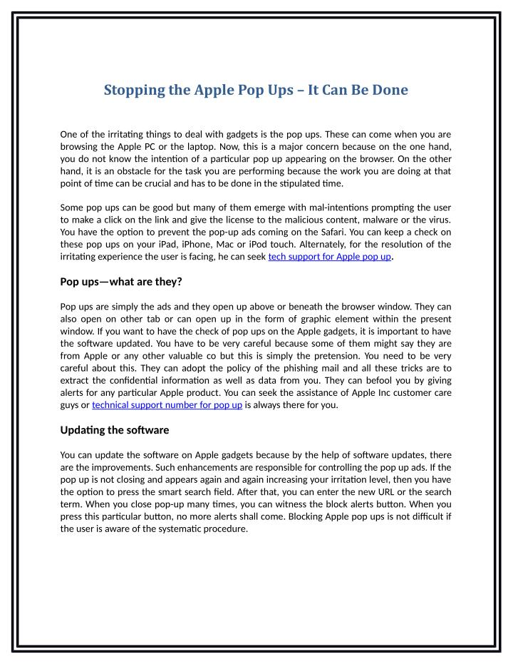 Stopping the Apple Pop Ups – It Can Be Done